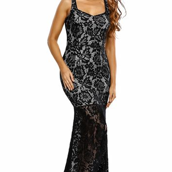 Black Lace Nude Illusion Fishtail Party Dress