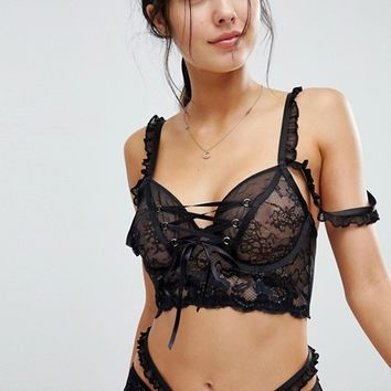 ASOS PREMIUM Danielle Lace Up Long Line Underwire Bra at asos.com
