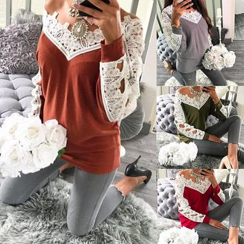 Sweater Knit Tops Lace Patchwork Casual Bottoming Shirt [11962822543]
