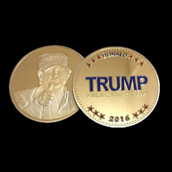5 pcs/lot, The 2016 New York Candidate Trump gold plated replica souvenir coin