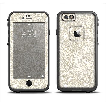The Tan & White Vintage Floral Pattern Skin Set for the Apple iPhone 6 LifeProof Fre Case