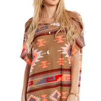 TRIBAL PRINT SHORT SLEEVE TUNIC - TAUPE