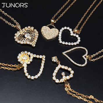 Copper Simple Crystal Love Heart Pendant&Necklace For Women Girls Luxury Charms Crystal Gold Silver Chain Collars For Lovers