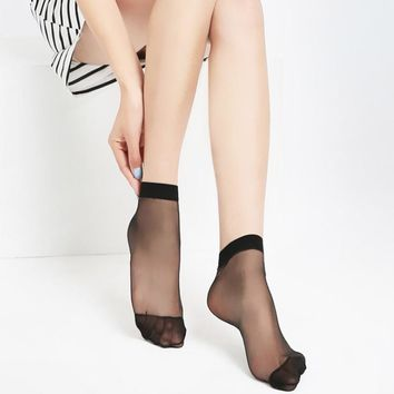 Women Velvet Socks Fashion Hot Sale High Quality Female Socks Summer Thin Silk Transparent  Ankle Sox Women's Socks