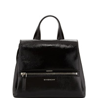 Pandora Pure Small Patent Leather Satchel Bag, Black - Givenchy