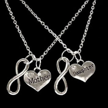 2 Necklaces Infinity Mother Daughter Forever Love Heart Gift Set
