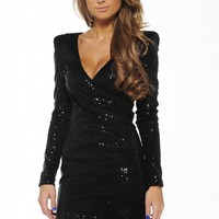 Black Long Sleeve Sequin Dress with V-Front