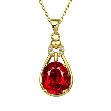 Gold Plated Ruby Drop Necklace