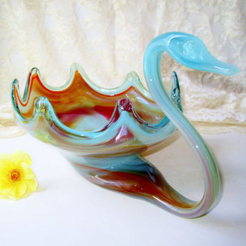 Blown Glass Swan Bowl Vintage Murano Glass Vase Fruit Bowl Blue Orange Bird Kitchen Home Decor Table Glassware Centerpiece Serving House