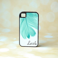 Inspirational Song Lyrics + Mint Feather Protective Phone Case + Feather iPhone Case + Let it Be