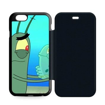 Plankton Spongebob Squarpants Leather Wallet Flip Case iPhone 6 | 6S