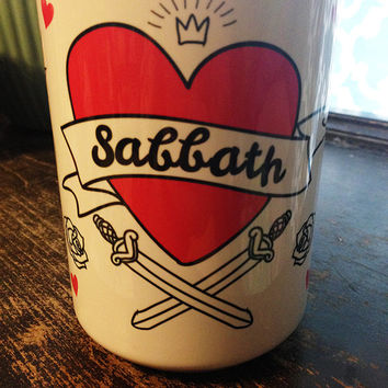 Black Sabbath Hot Pink Tattoo Heart 15 oz. Coffee Mug