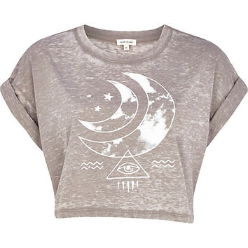 River Island Womens Light brown burnout moon print crop t-shirt