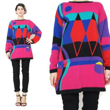 Vintage 80s Abstract Sweater Colorful Bright Sweater Diamond Pattern Rainbow Striped Sweater Womens Geometric Print Pullover Jumper (S/M)