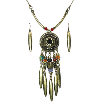 antiqued gold dreamcatcher necklace and earring set