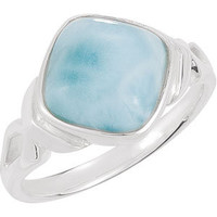Cushion Cabochon Larimar Ring