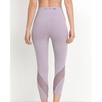 Active Hearts - Wave Mesh High Waist Sports Leggings in Lavender