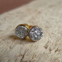 Tiny Silver Druzy Earrings - Titanium Druzy Quartz Studs, Gold Vermeil Bezel Set