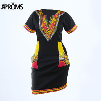Aproms Women Summer Bodycon Dress 2017 Robe Sexy Casual Sundress Plus Size Clothing Vintage African Print Dashiki Dresses