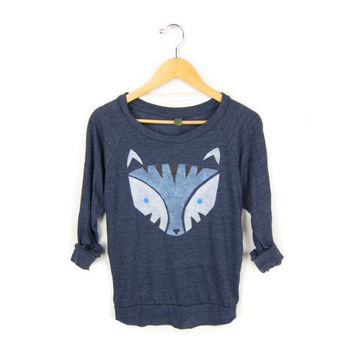 Geo Snow Leopard - HAND STENCILED Slouchy Eco Heather Women's Deep Scoop Neck Lightweight Sweatshirt in Midnight and Ice Blue - S M L XL