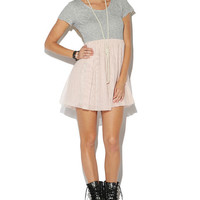 Terry Zip Back Tulle Dress