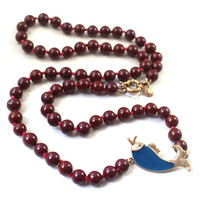 Women Burgundy Beaded Fish Pendent Necklace
