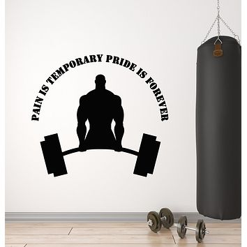 Vinyl Wall Decal Gym Fitness Phrase Pain Is Temporary Bodybuilding Sports Stickers Mural (g2755)