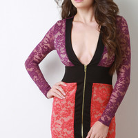 Color Block Lace Deep Plunge Dress