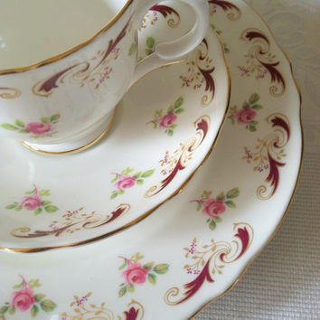 Vintage Crown Staffordshire Tea Cup, Saucer and Dessert Plate Trio/Cottage Style/Made in England