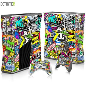 BOMB Bombing Graffiti Protector Vinyl Sticker for Xbox 360 Slim Console with 2 Controller Skins Cover for Xbox360