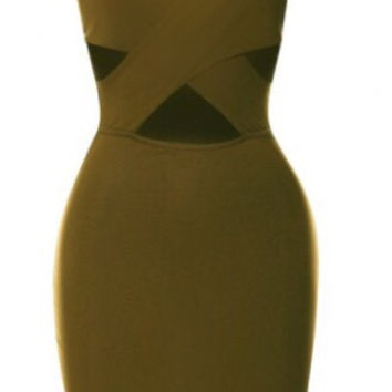 Chrissy Criss-Cross Bodycon  Olive