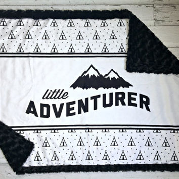 "Designer Minky ""Little Adventurer"" Baby Blanket - Teepee"