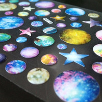 Colourful planets Outer Space Stickers NASA Galaxy world Sparkle star war solar system iphone button sticker  mars  Mercury earth icon