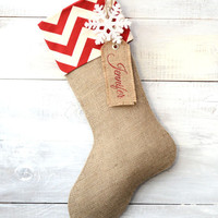 Christmas Stocking - Red/Ivory Chevron - Choose your embellishment - Monogram