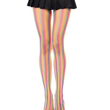 Neon Rainbow Striped Fishnet Pantyhose
