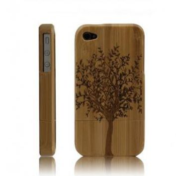 Best Handmade Carved Bamboo iPhone 4 4s Cases A Big Treedark by Hallomall on Zibbet