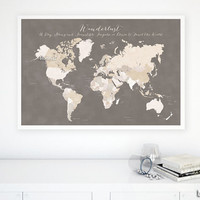 "36x24"" PRINTABLE world map with countries & names, printable dorm decor, earth tones, WANDERLUST quote, diy travel pinboard - map 138 H12"