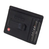 Alpine Swiss Men's Leather Money Clip Front Pocket Wallet Black
