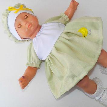 """American Girl Bitty Baby Clothes 15"""" Doll Clothes White Green Peasant Dress with Embroidered Easter / Chick & tam (hat) 2 pc outfit"""