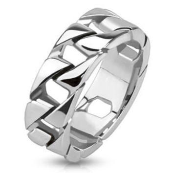 Tire Tracks – Polished silver stainless steel chain link men's ring