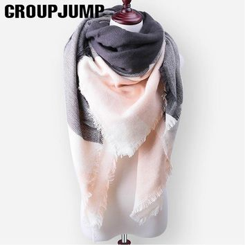 2017 Fashion Plaid Winter Scarf For Women Men Thick Triangle Scarves Female Winter Accessories Ladies Warm Scarf 140*140*210cm