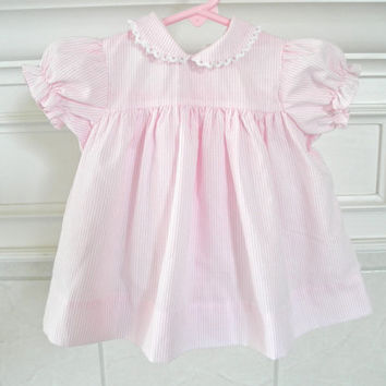 Baby Dress Size 3 to 6 Month Pink and White Stripes Scalloped Collar Vintage Baby Clothing Girls Toddlers Baby Doll Style Dress Photo Props