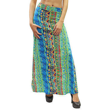 New Casual Mint Blue Aztec Print & Open Splits Maxi Long Skirt Size L - LV0210