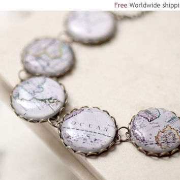 World Map necklace - Traveler's jewelry (BN014)