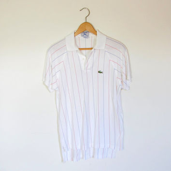 80s vintage IZOD LACOSTE polo / Mens vintage t shirt / 1980s white striped retro shirt size M Medium