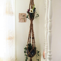 "Double Jute Macrame Plant Hanger, 55"", 6 ply NATURAL JUTE, beaded jute hanging planter, pot holder, hanging basket, 2 tier, double tier, 70s"
