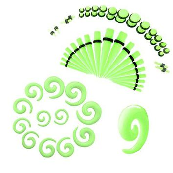 BodyJ4You Gauges Kit 27 Pairs Neon Green Acrylic Tapers Plugs & Spirals 14G 12G 10G 8G 6G 4G 2G 0G 00G 54 Pieces