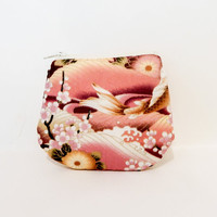 Koi Fish Coin Purse, Change Pouch, Zipper Pouch, Fabric Pouch, Pouch, Cute Pouch, Gift,  Floral and Koi Fish in Brown and Dusty Rose