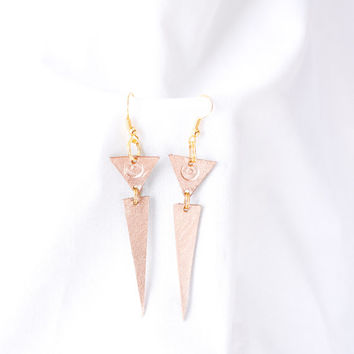 Handmade metallic gold leather earrings, geometric earrings, triangle earrings, accessory, jewelry