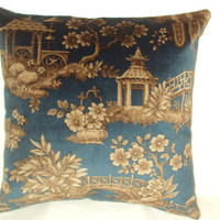 "Pillow Covers 18"" Set of Two - Blue Japanese Garden Pattern"